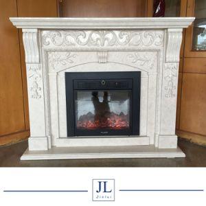 電気ヨーロッパ式の支えがなく純粋で白い大理石の自然な大理石及び石灰岩の暖炉