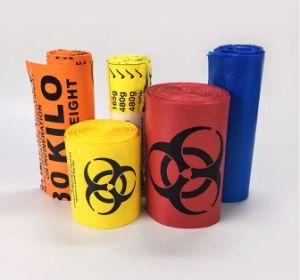 롤에 MDPE 주황색 Biohazard 전염하는 의학 폐기물 부대