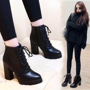 Черный женщин панк обувь высокого каблука готической одежды лодыжки загружается