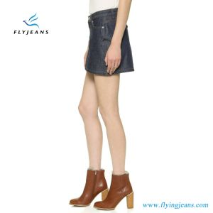 Hot Sale Raw denim jeans femmes mini-jupe Mesdames jupes (E. P. 518)