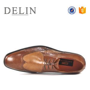 新しいカラーラクダのオックスフォードの人牛革服靴