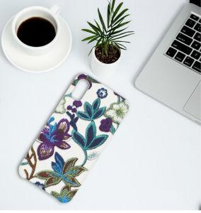 Cas en cuir de téléphone cellulaire d'unité centrale de texture de broderie pour l'iPhone 8