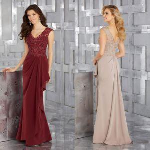 Los encajes de biselado y Chiffon madre damas vestido vestido de noche del vino