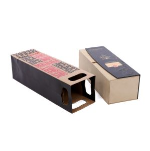 157g 고품질은 로고에 의하여 인쇄된 Kraft 포도주 종이 봉지를 주문을 받아서 만든다