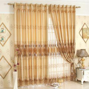 Tela de lujo real de la cortina del apagón del bordado del estilo (19F0052)