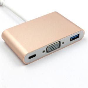 변환 선3 에서 1 USB 3.1type C에서 VGA+USB3.0+Hub 전원 변환 장치