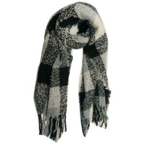 女性Winter Warm Fashion Knitting極度の柔らかい小切手デザインスカーフ