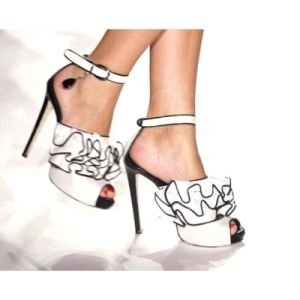 Blanc pur Mesdames sandales (Hs13-020)