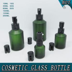 Verde mate cosmética hombro inclinado Atomizador de vidrio y cristal tarro de crema