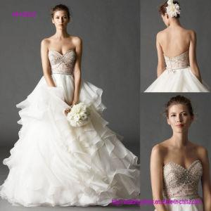 Multi-Layer em um A cheio - linha vestido de casamento com trem da varredura