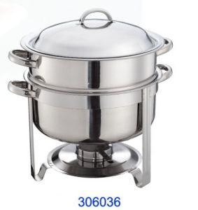 Acero inoxidable redonda el roce del plato con comida de 13,5L Pan (306036)