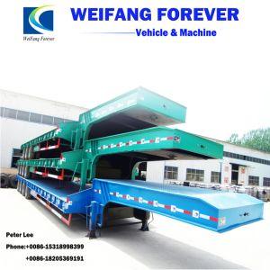 3車軸60ton低いベッドのトラックのトレーラーを半運ぶ機械装置