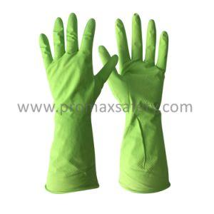Azul Flocklined Protectve luvas de limpeza de látex para uso doméstico