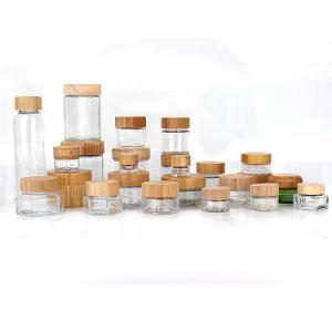 Eco Friendly de l'emballage en pots de verre et le flacon en verre pour l'alimentation cosmétique de stockage avec bouchon en bois de bambou