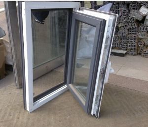 Finestra grigia e bianca della rottura termica di alluminio della stoffa per tendine