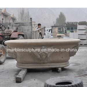 Escultura em pedra mármore amarelo banheiras para decoração de interiores (SY-BT001)