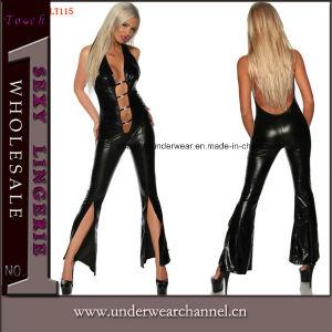 Jumpsuit de cuero negro Fullbody Cat mujer lencería PVC Combinacion (TYLM115)