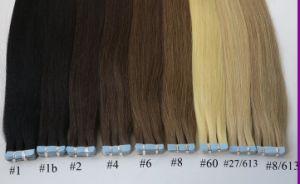 Groothandelsprijs 100% van de Hoogste Kwaliteit van de Verkoop van de V.S. Europese Hete de Blauwe Witte Onzichtbare Band van het Menselijke Haar in de Dubbele Getrokken Uitbreiding van het Haar van de Band Remy