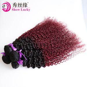 新しい方法モンゴル語によって着色される1b/99j赤いOmbre毛のねじれた巻き毛の人間の毛髪の部分