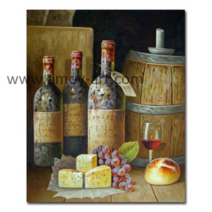 Pitture a olio delle bottiglie di vino dell'olio pesante su tela di canapa