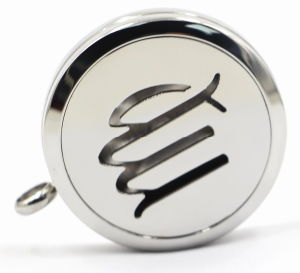 Argento 30mm Rd Stainless Steel Perfume Locket con Openworks