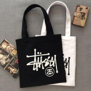 カスタムデジタルによって印刷されるロゴのジッパーの平野のショッピングキャンバスの綿のトートバック