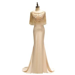 Lujo elegante estilo Sirena Slim-Fit Bateau cuello corte barrido vestido de noche vestido de fiesta vestido vestido de la etapa de famosos