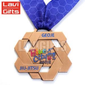 リボンが付いている卸し売りカスタム金属の八角形賞のスポーツの報酬メダル