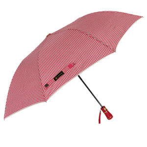 Abrir automaticamente a 23pol*8 costelas 2 guarda-chuva dobrável com impressão Plaid Pongées Fabric (YZ-19-64)