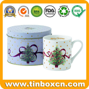 Het aangepaste Tin van de Mok van de Doos van de Gift van het Metaal Verpakkende Ovale voor Bevordering