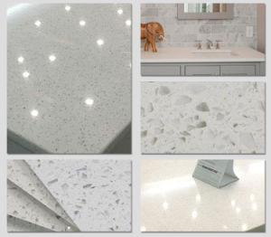 光っている白い水晶石のカウンタートップ