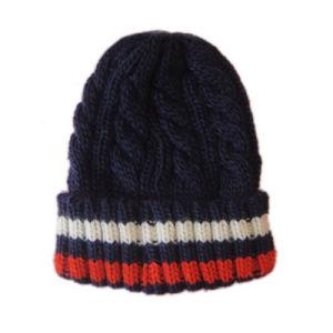 El cable de la moda de invierno cálido Hat gorro con banda en el manguito