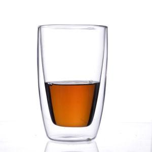 Vetro di Borosilicate termoresistente della tazza di vetro doppia conica del cono