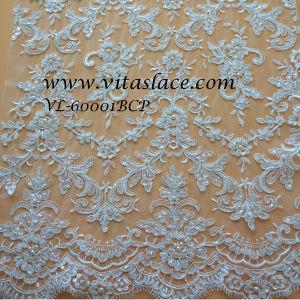 Weißes Rayon-u. Polyester-wulstiges Brautspitze-Gewebe-Hochzeits-Großhandelskleid (VL-60001BCP)