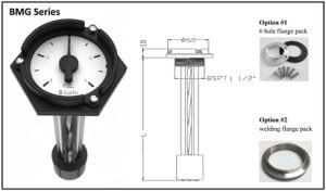 発電機の機械燃料タンクのレベルゲージ