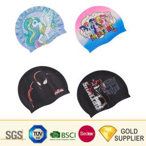 Granel grossista fabricante barato Eco-Friendly Impresso Personalizado óculos de natação Hat Sport Cap Lycra à prova de água em borracha de silicone adulto antiderrapagem touca de cabelo comprido