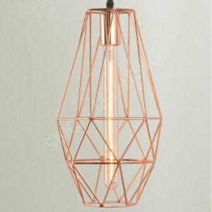 Weinlese-industrieller Rosen-Goldmetallrahmen-hängendes Licht mit schwarzem Netzkabel