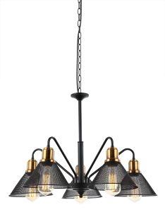 黒の5つの金属の陰が付いている屋内照明型のシャンデリア