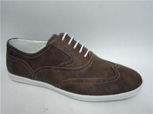 Color marrón de cuero de PU Mens zapatos