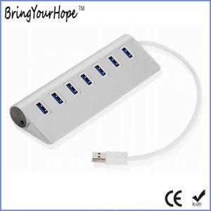 7 puertos USB 3.0 HUB USB de aleación de aluminio (XH-HUB-002).