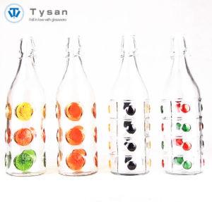 Bottiglia di vetro rotonda della bevanda della spremuta dell'acqua con il coperchio della barra del collegare
