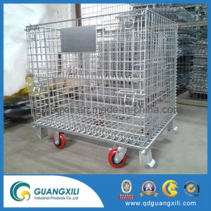 La boîte de rangement en métal de soudure en acier galvanisé de Wire Mesh avec roulette de la palette de conteneur pour l'entrepôt