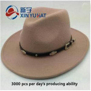 革ベルトを持つカスタム冬の帽子の人のウールのフェルトのソフト帽の帽子ライトラクダ