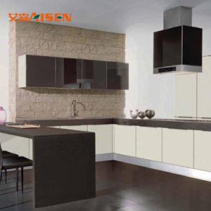 Design simples e moderno Puxe Padrão armário de cozinha lacados com cesto de armazenamento