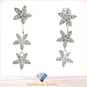 De Gehele Juwelen 3A CZ 925 van China van de Juwelen van de Manier van het Ontwerp van het Patroon van de goede Kwaliteit &Star de Zilveren Oorring van Juwelen (E6522)