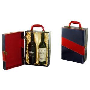 Azul oscuro de gama alta de 2 botella de vino de satén Box (5892)