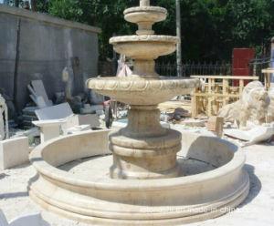 庭の景色および広場の装飾のためのベージュ大理石の彫刻の噴水