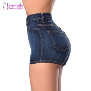 Mayorista de buena calidad de lavado corto Jeans de cintura alta