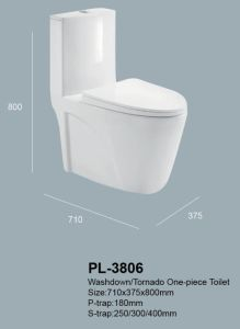 Lavado lavado montado en el piso P y S-Trap wc una pieza de cerámica de porcelana porcelana sanitaria (PL-3806)