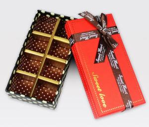 El logotipo de la impresión de color personalizado de lujo en caja de regalo Envase/Embalaje de golosinas de chocolate Caja de papel con cinta